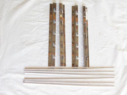 kit grelha moeda inox + suporte inox com barras alum maciço