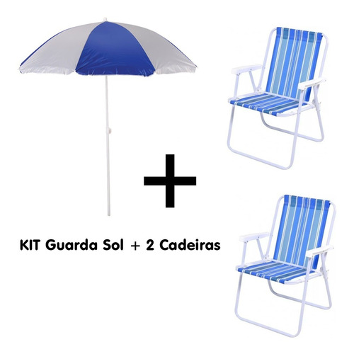 kit guarda-sol 1,80m + 2 cadeiras ref 2002