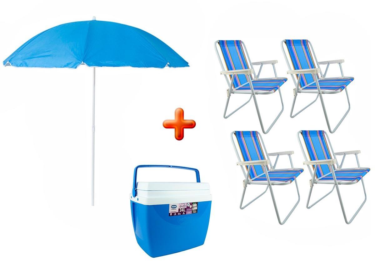 Kit Guarda Sol Lotus + 4 Cadeiras De Praia + 1 Caixa Térmica - R ... 83dcceb093
