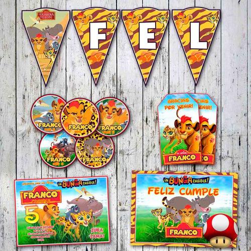kit guardia del león invitaciones candy bar stickers y más