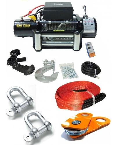 kit guincho elétrico 12000lbs 12v offroad jeep + acessórios