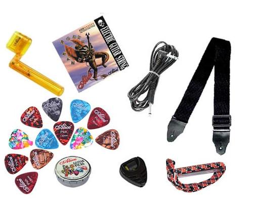 kit guitarra electrica con amplificador 10w y accesorios