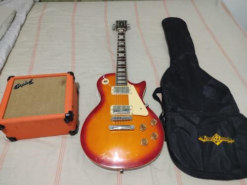 kit guitarra les paul com amplificador com distorção