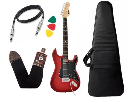 kit guitarra stratocaster phx sth vermelho capa regulado