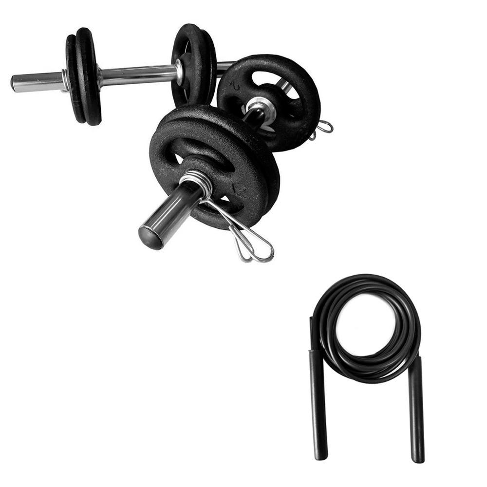 106c47f2e kit halteres barras e anilhas 12kg halter musculação corda. Carregando zoom.