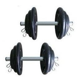 kit halteres com 20kg de anilhas + 2 barras 40cm e presilhas