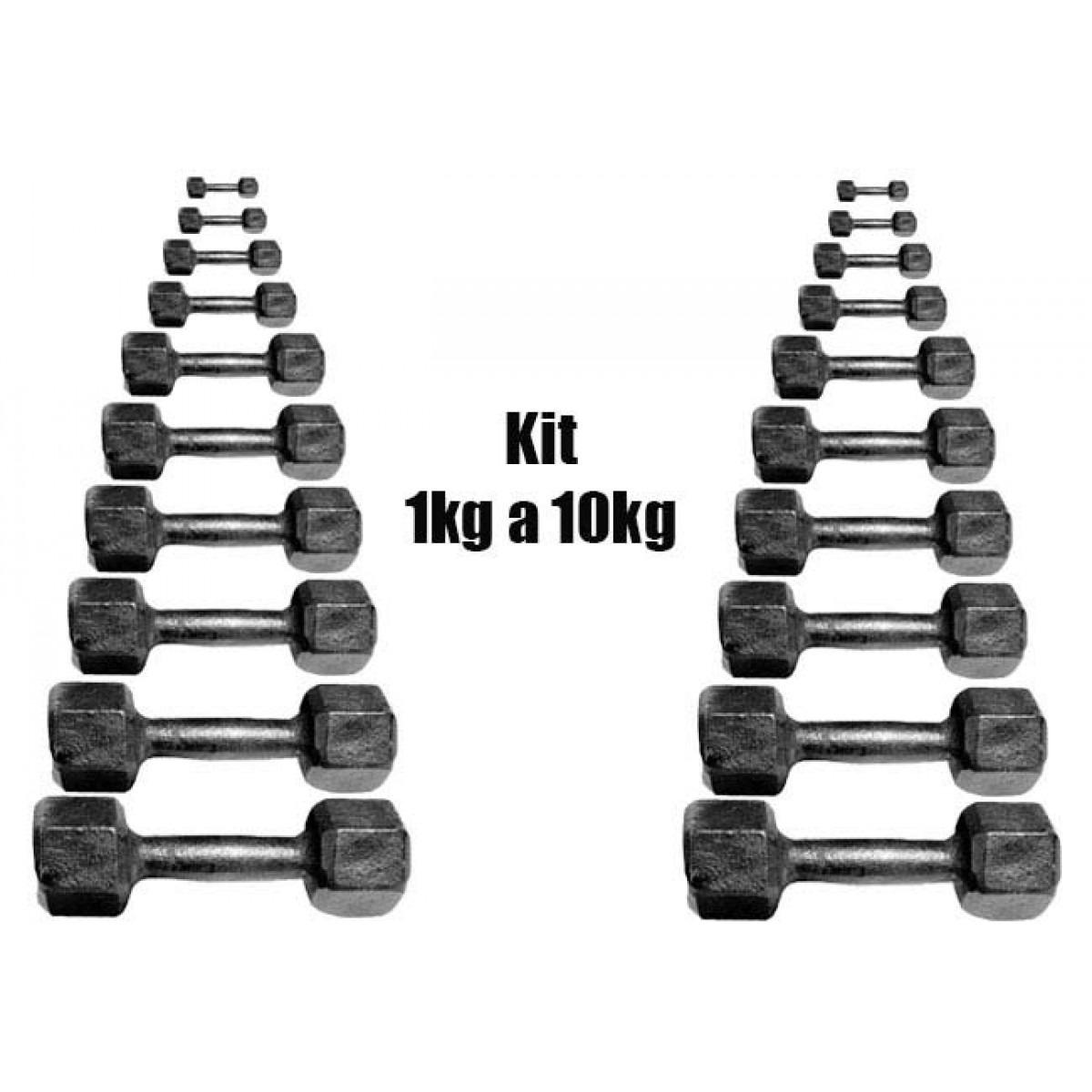 394e09ae6 Kit Halteres Dumbells Sextavado Ferro 1 Kg A 10 Kg (par) - R  759