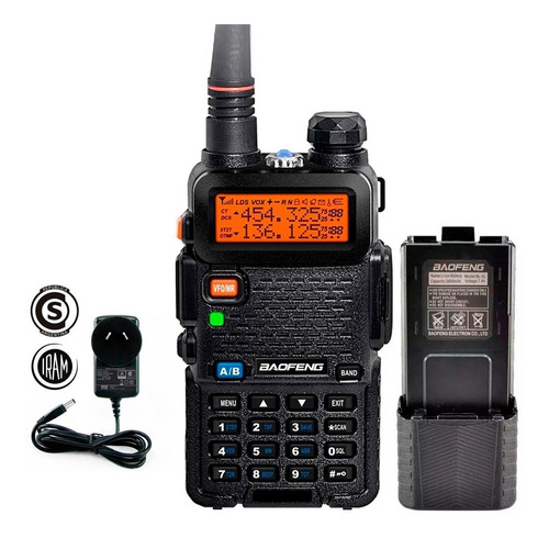 kit handie baofeng uv5r original 5w bateria 3800 mah 12km