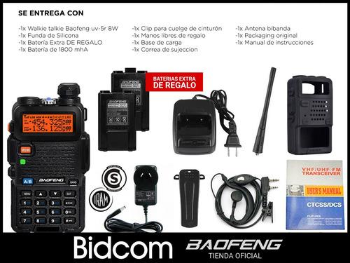 kit handy baofeng uv5r 8w + bateria extra + funda silicona