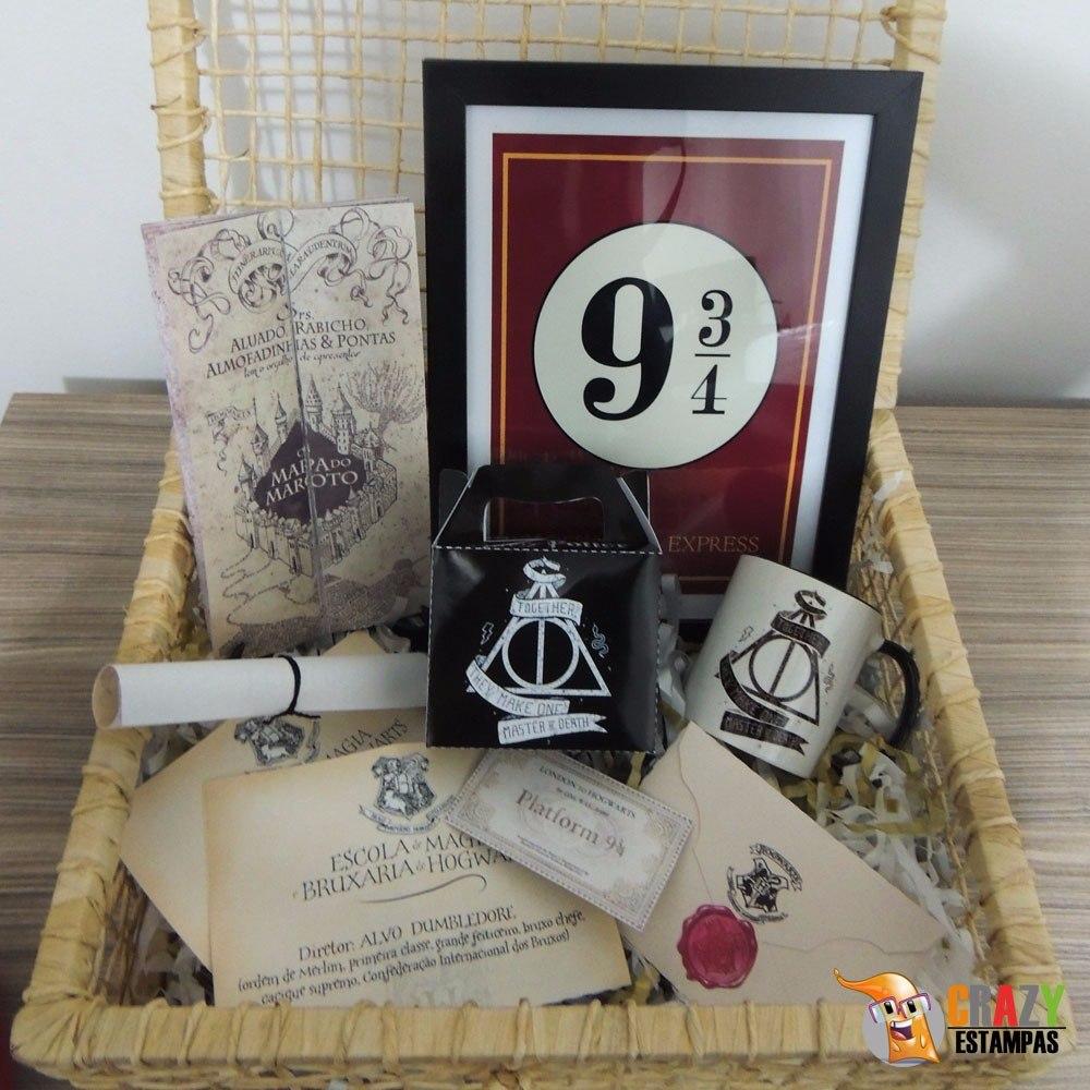 0e10e34c714982 Kit Harry Potter Deluxe (8 Itens) Com Varinha E Cesta!