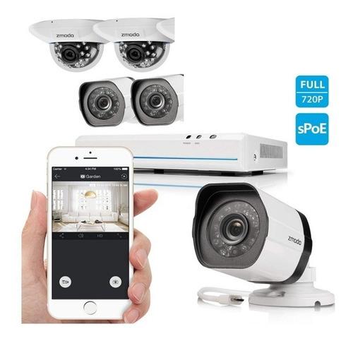 kit hd de 4 cámaras de seguridad smart poe, 8 canales zmodo