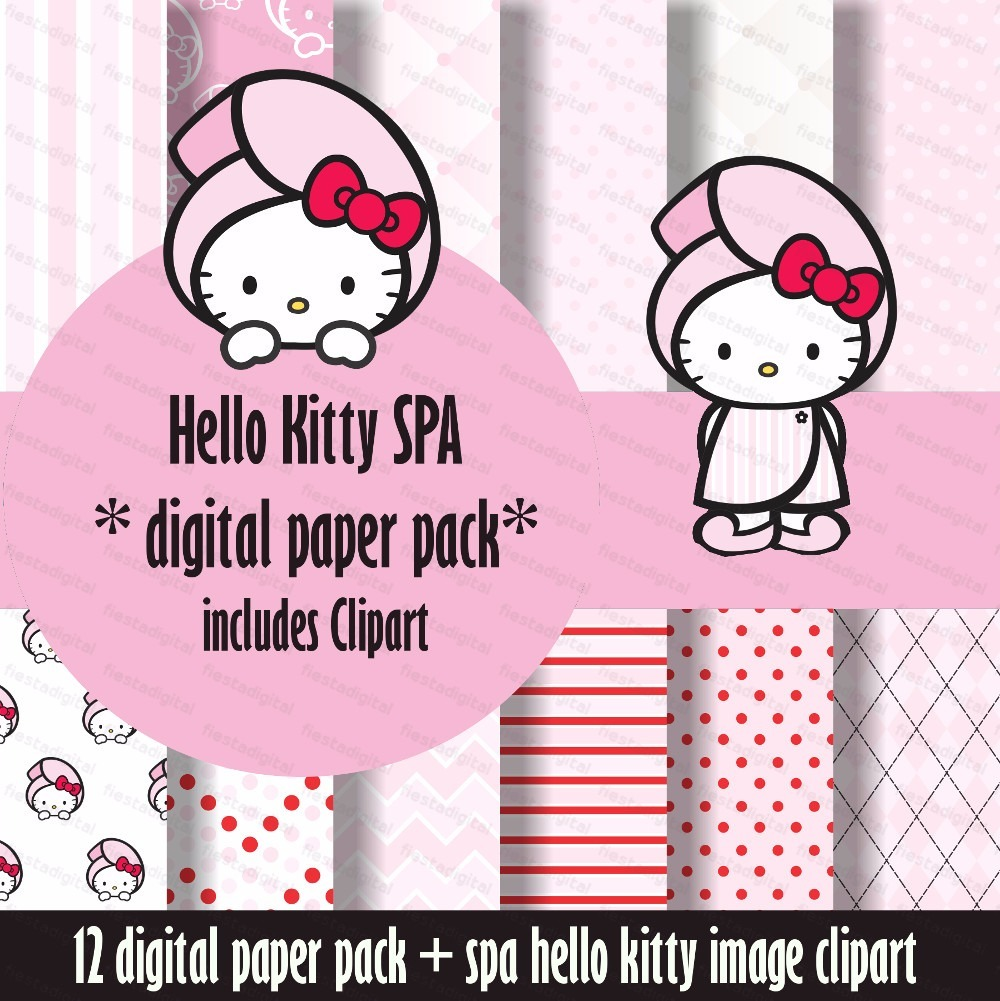 kit imprimible fondos hello kitty spa rosa pastel clipart 12 00