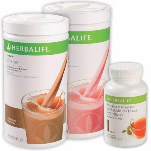 kit herbalife 2 shake 550g e chá verde 100g queima gordura