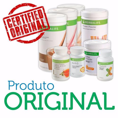 kit herbalife 3 potes shakes, proteína 240g e fiberbond