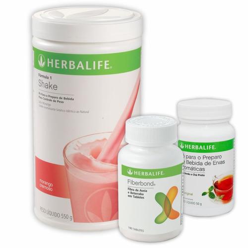 kit herbalife shake, chá verde 100g e fiberbond