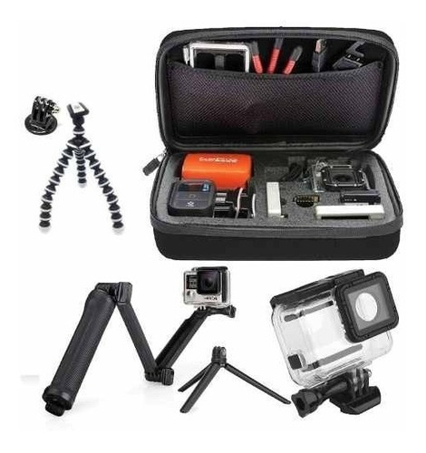 kit hero bastão 3 way pulso gopro 5 6 black estanque tripé
