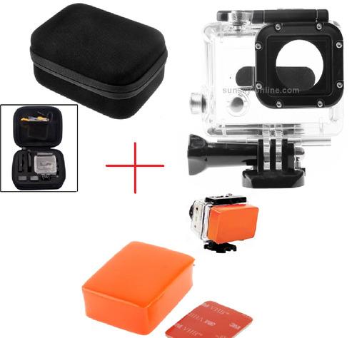 kit hero case+caixa estanque+boia flutuante+adesivo 3m