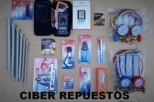kit herramientas refrigeracion n°8 + b. vacio 70l/m cooltech