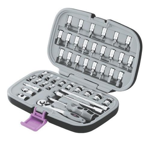 kit herramientas set de 43 p juego tubos puntas 1/4 + envio