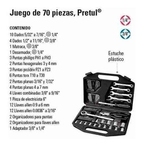 kit herramientas set juego tubos llaves combinadas 70 piezas