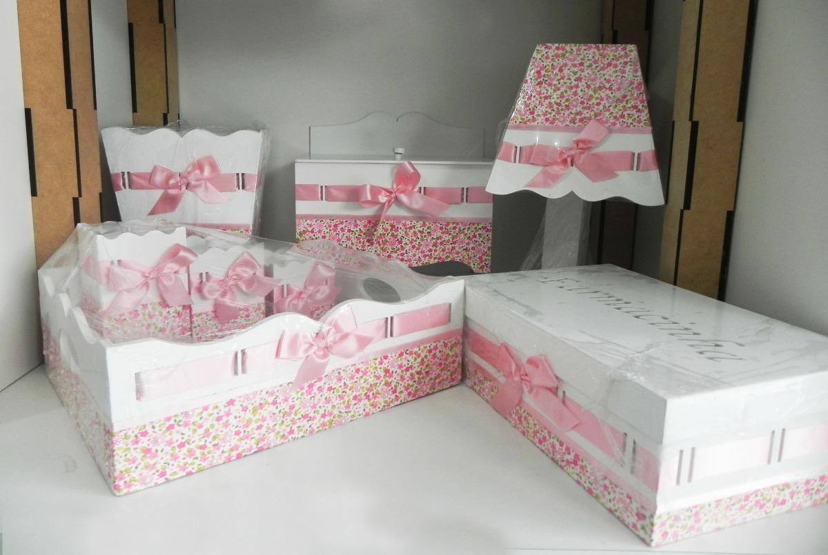 Kit Higiene Beb u00ea Passa Fita Rosa Decorado Pintado 8 Peças R$ 270,00 em Mercado Livre -> Como Decorar Kit Higiene Bebe Com Tecido