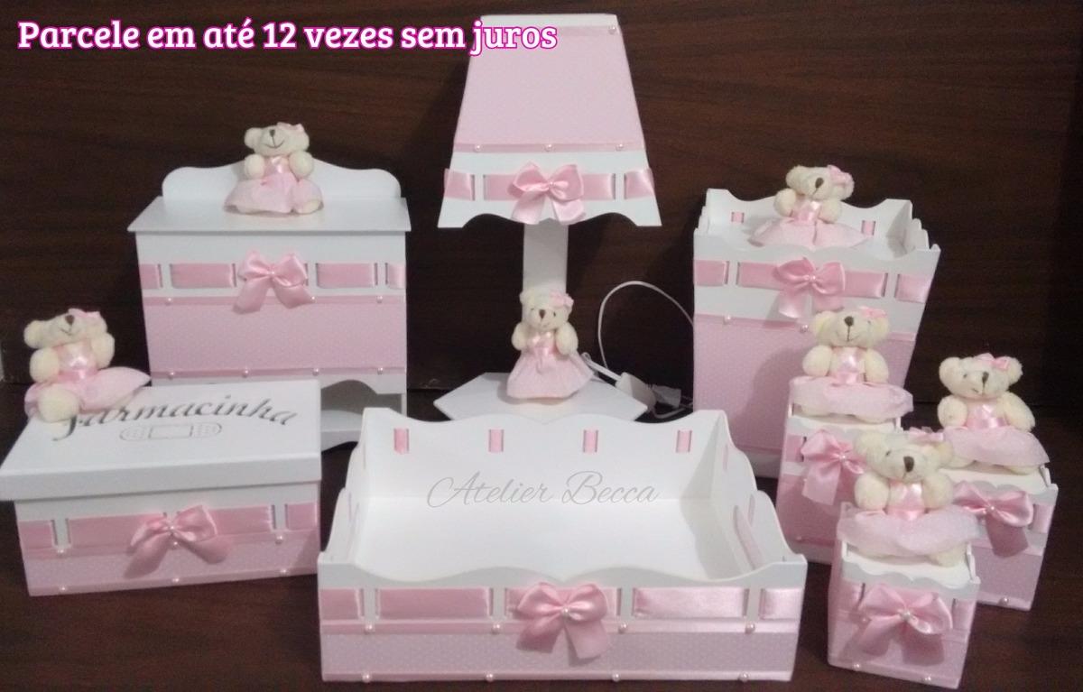 Kit Higiene Beb u00ea Passa Fita Ursinha Ursinho 8 Peças R$ 255,00 em Mercado Livre -> Como Decorar Kit De Higiene Para Bebe Em Mdf