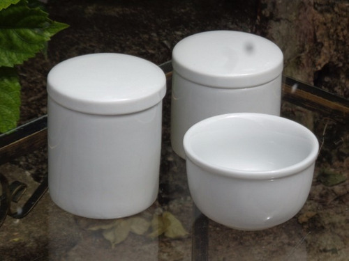 kit higiene bebê  porcelana branca  12 pçs potes cumbuca