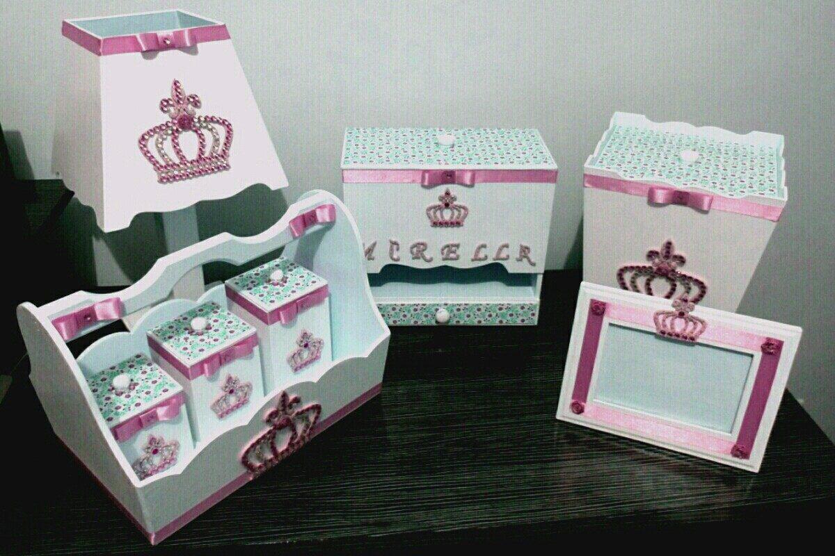 kit higiene beb princesa coroa de mdf branco e rosa