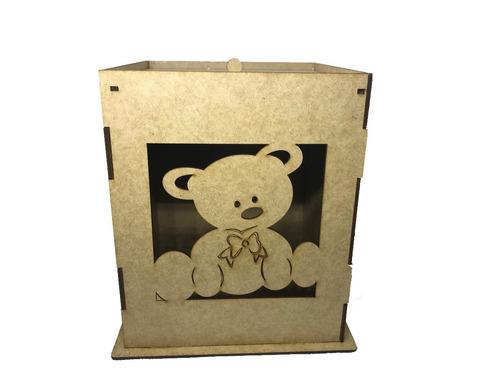 kit higiene bebê urso 8 peças mdf cru desmontado