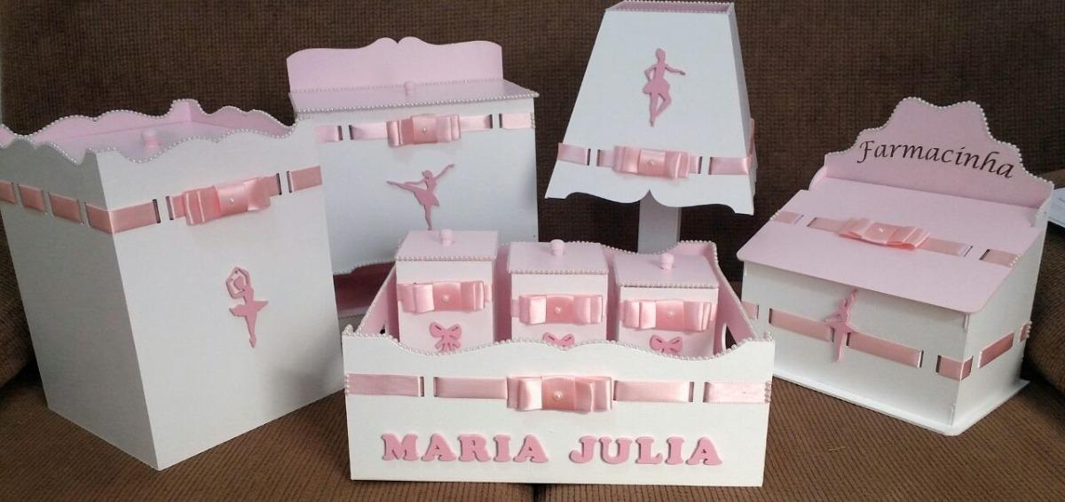 Kit Higiene Bebe Mdf 8 Peças Bailarina Luxo Menina R$ 235,00 em Mercado Livre # Como Pintar E Decorar Kit Higiene Para Bebe Em Mdf