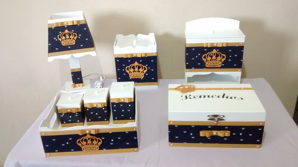 Kit Higiene Bebe Mdf Princesa Menina 8 Peças Decorado Rosa R$ 269,90 em Mercado Livre -> Como Decorar Kit De Higiene Para Bebe Em Mdf