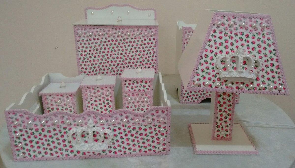 Kit Higiene Bebe Menina Mdf Decorado Coroa R$ 230,00 em Mercado Livre # Como Decorar Kit Higiene Para Bebe Com Perola