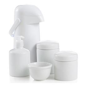 Kit Higiene Bebe Potes Molhadeira Porcelana Garrafa Térmica