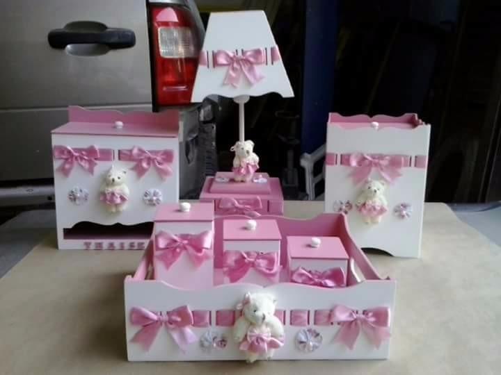 Kit Higiene Para Banheiro Infantil : Kit higiene bebe ursinha personalizado maternidade pe?as
