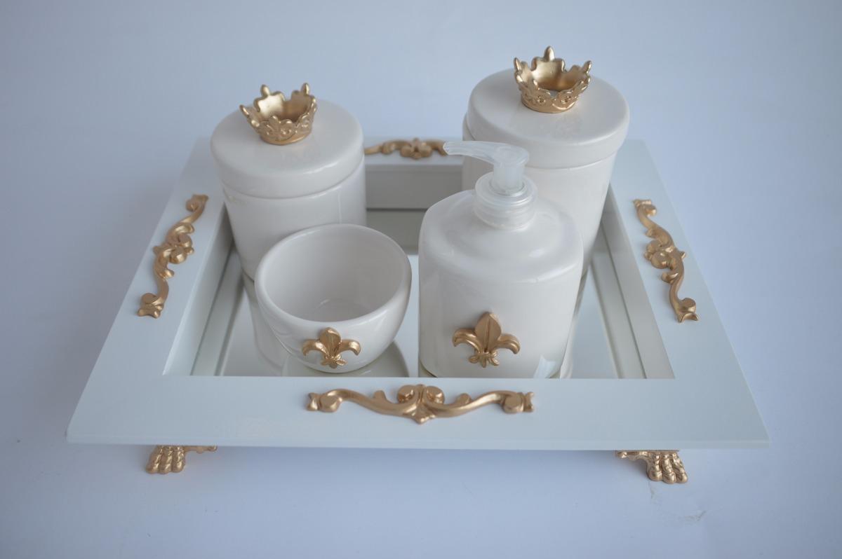 Kit Higiene Coroa Cavalinho Urso Espelho Luxo 5 P S Ceramica R