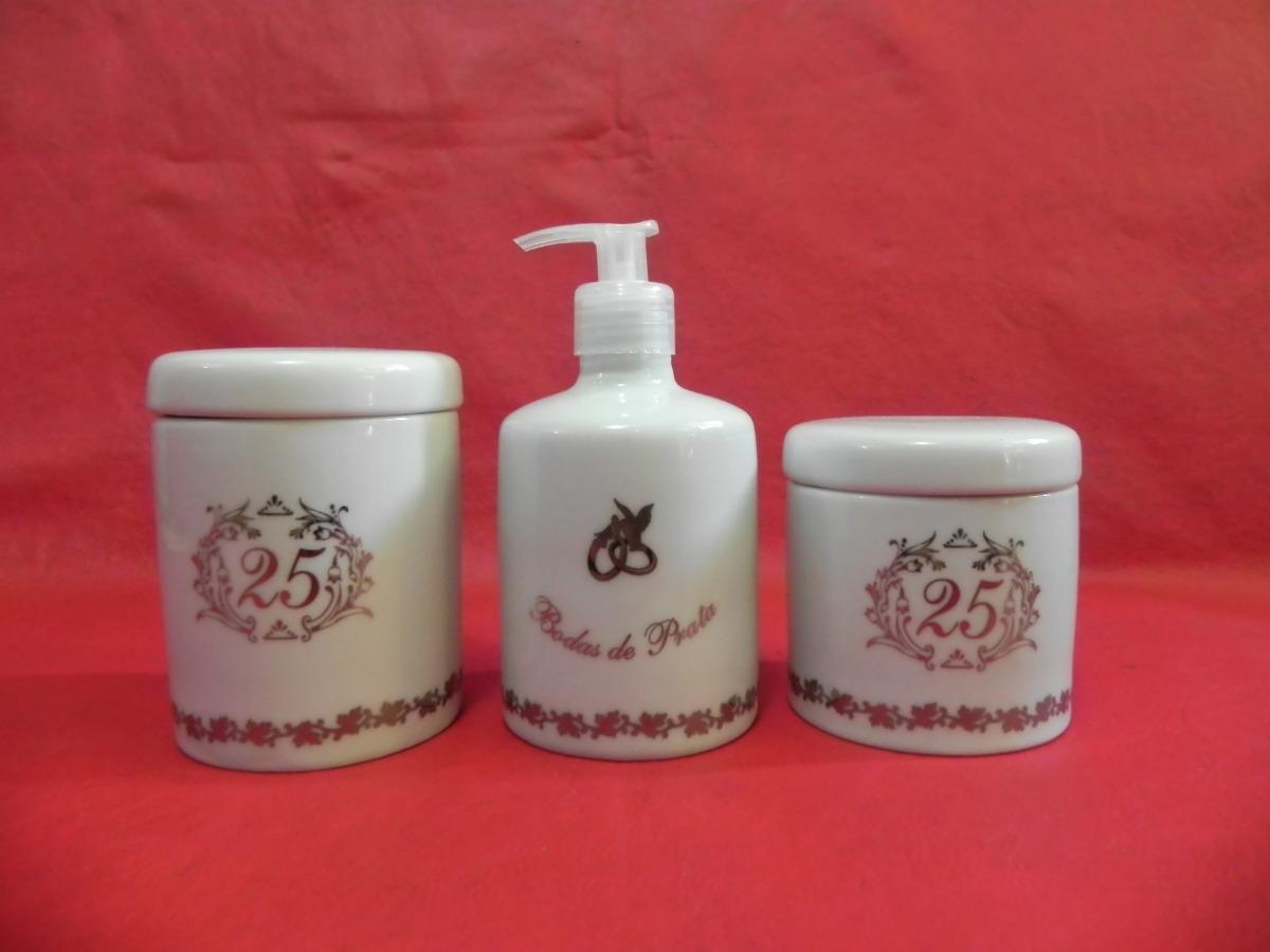 Kit Higiene De Porcelana Banheiro Bodas De Prata Presente R$ 130 00  #9C2F35 1200 900