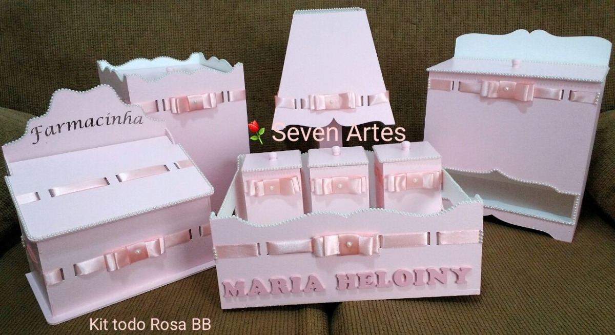 Armario De Cozinha Casas Bahia Bartira Carla ~ Kit Higiene Mdf 8 Peças Bebe Menina Luxo Rosa Bebe R$ 225,00 em Mercado Livre