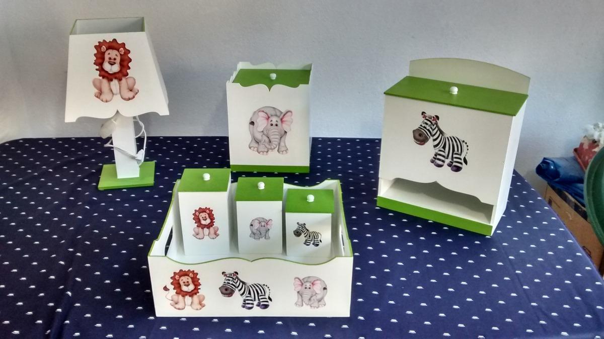 kit higiene mdf decorado 7 pe as safari menino verde liso