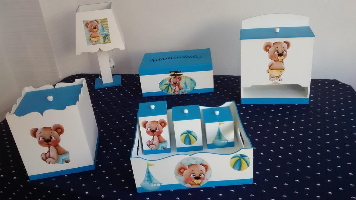 Kit Higiene Mdf Pintado Decorado Liso 8 Peças Urso Menino R$ 199,90 em Mercado Livre # Como Decorar Kit De Higiene Para Bebe Em Mdf
