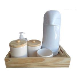 Kit Higiene Pinus Garrafa 6 Peças Ceramica Madeira Porcelana
