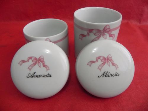 kit higiene porcelana 2 potes personalizados a mão banheiro