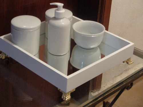 kit higiene porcelana bandeja espelho menino menina