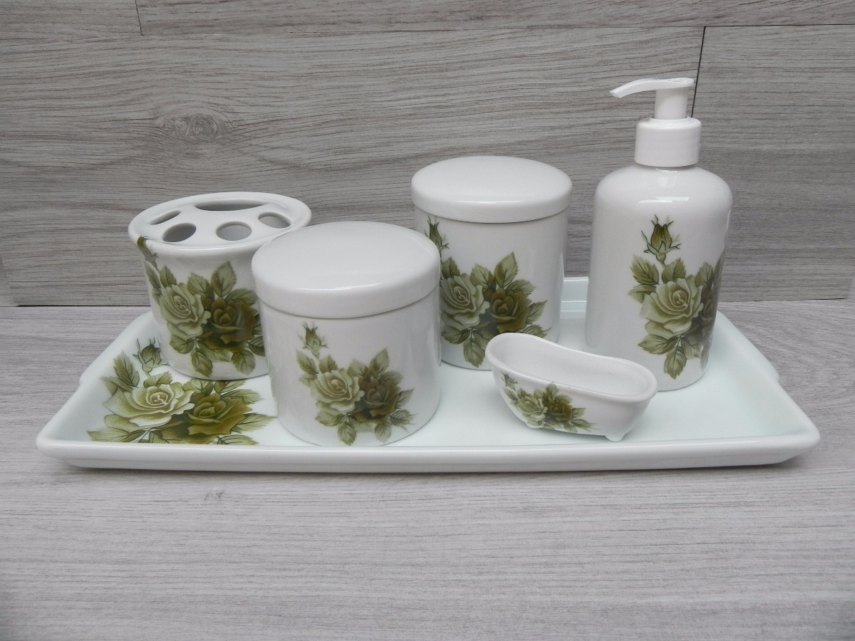 Kit Banheiro Porcelana : Kit higiene porcelana banheiro p?s flor verde pote