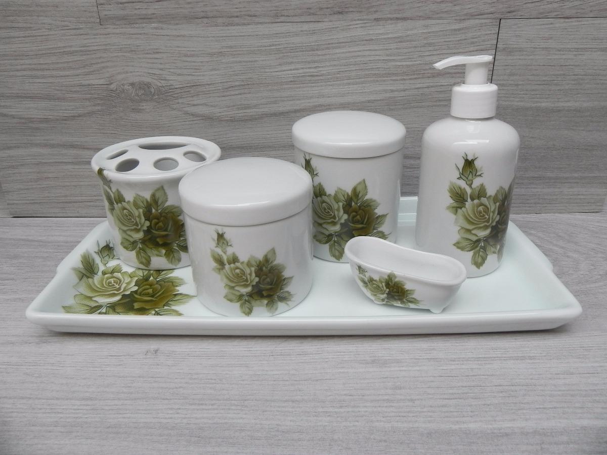 Kit Banheiro Porcelana Mickey : Kit higiene porcelana banheiro p?s flor verde pote
