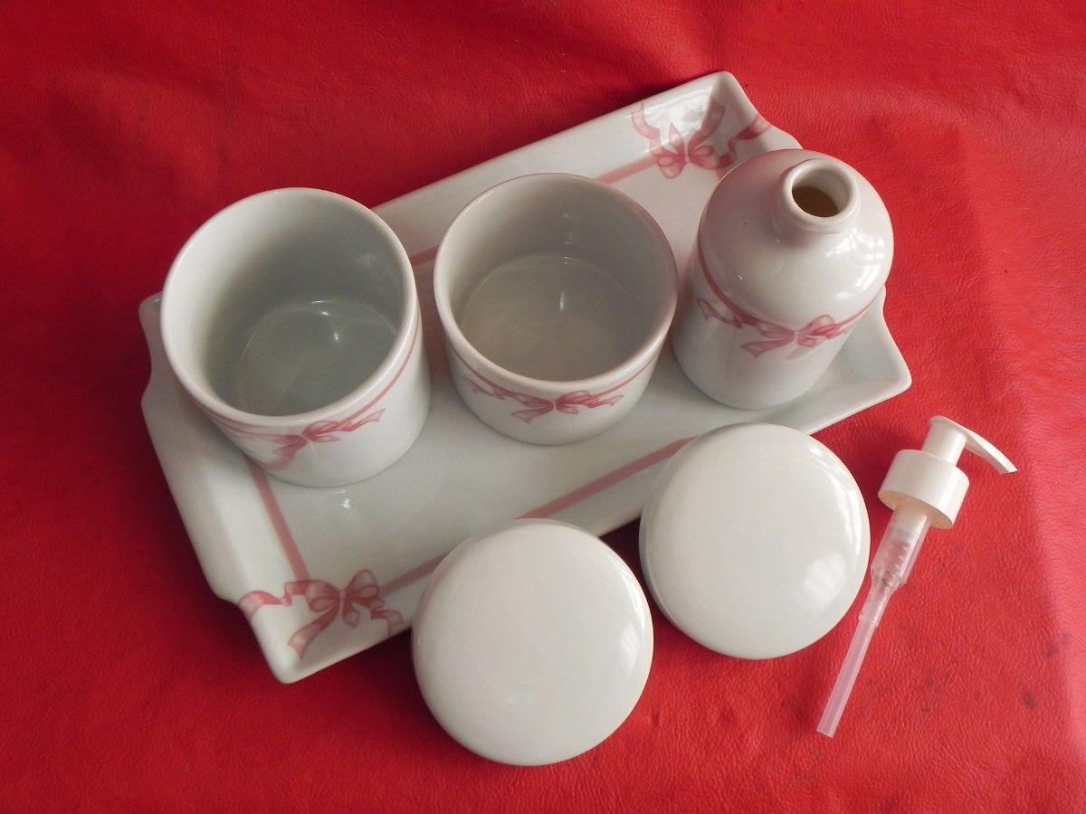 Kit Banheiro Porcelana Mickey : Kit higiene porcelana banheiro bandeja pote saboneteira