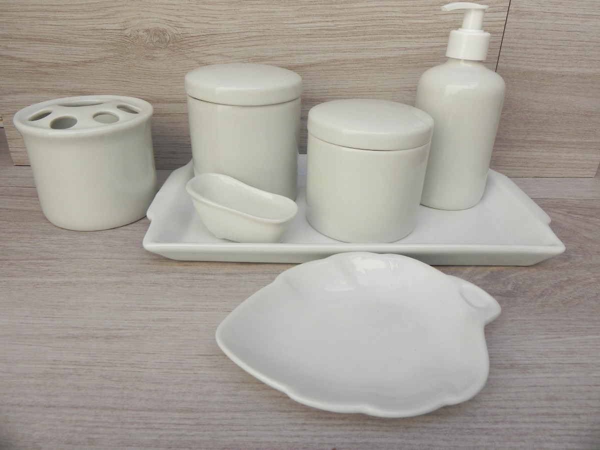 Kit Higiene Porcelana Branca Banheiro 7 Peças Bandeja Potes