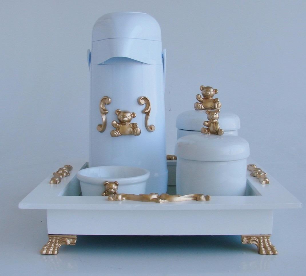 Kit Higiene Urso Cavalinho Coroa Espelho Luxo Garrafa 5 P S R  ~ Espelho Para Quarto Infantil E Quarto De Bebe Cavalinho