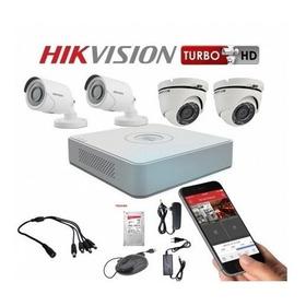 Kit Hikvision, 4 Camaras, Domo, Bullet, Dvr, Full Hd,cctv