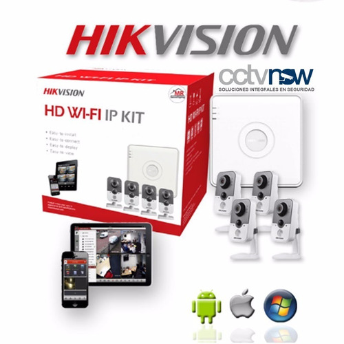 kit hikvision hd  4 camaras inalambricas + grabador