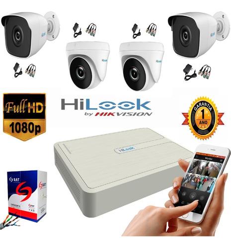 kit hikvision hilook dvr 1080 4 ch + 4 cámaras seguridad